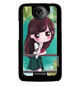 Fuson Premium Girl In Green Metal Printed with Hard Plastic Back Case Cover for HTC One X