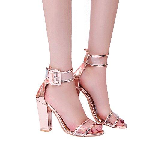 FeiBeauty Damen Block High Heel Sandalen Ankle Platforms Schuhe Schnalle High Heels Pumps elegant mit Blockabsatz & Fesselriemchen Schwarz Blau Braun Gold Wassermelonenrot 35-43