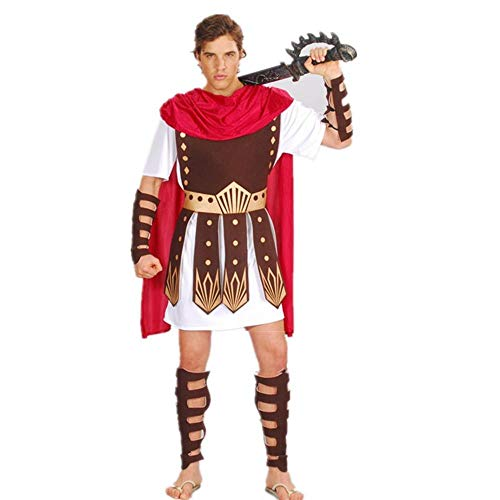 NiQiShangMao Halloween Purim Erwachsenen Antiken Römischen Griechischen Krieger Gladiator Kostüm Ritter Julius Caesar Kostüme für Männer Frauen Paar (Römisch Mann Kostüm)