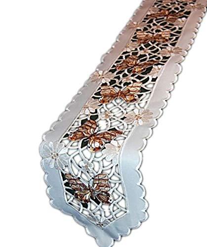 Espamira Tischdecke 20x160 cm oval Schmetterlinge Beige Tischläufer Tischband Frühling (Champagner Braun) - Champagner-frühling