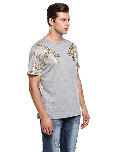 Herren T-Shirt Kurzarmshirt Top Dragon Print Shirt Casual Basic O-Neck B-Grau