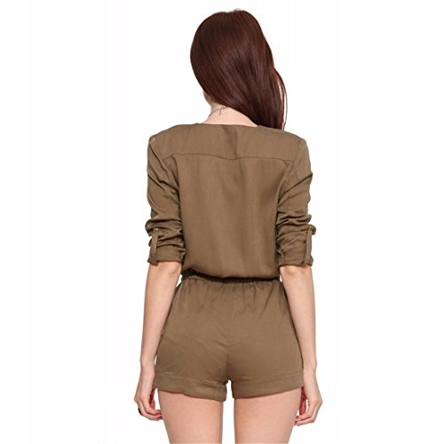 Womens Retro Brownness Manches Col V Ceinture Cordon Barboteuses Salopette Roll-Up Brun