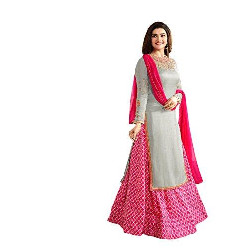 Ank Women\'s Pink Georgette & Banglori Silk Semi-stitched Salwar Suit