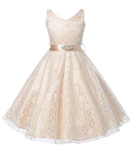 Lucido per bambini Little/Big Elegante V Neck Lace over Satin compleanno partito vestito Champagne 2-3 Anni