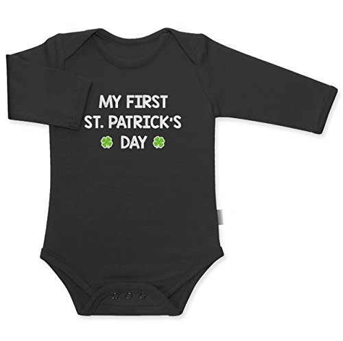 My First St. Patrick's Day - Mein Erster St. Patricks Day Baby Langarm Body 50/56 (0-3M) Schwarz