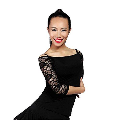 G1002 Latin und Standard Tanztraining Tops angeboten von GloriaDance (black, large) (Waltz Kurzarm-kleid)