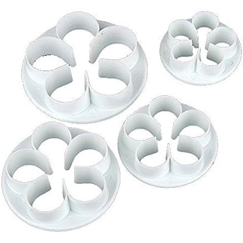 3pcs Set de 4pétalos de flores cortador Fondant Cake Sugarcraft Decoración émbolo herramientas