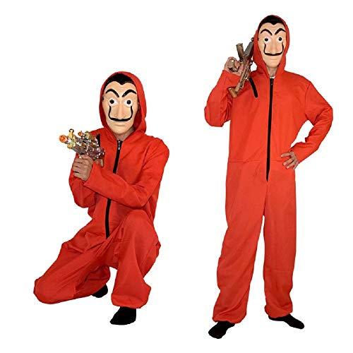Partei Masken Kostüm - Qiujiam Kostüm Phantom Gelddieb Haus des Geldes La Casa De Papel Filmreihe Cosplay Kostüm Dali Dali Red One Piece großen roten Overall Maske Kostüm Partei verkleiden