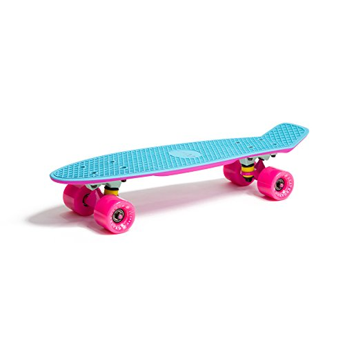 Stark-Shop Skateboard 22' 23' 27' Penny Board Retro Mini Cruiser Board Patineta, Skateboard Modell:Fish 2-Color, Skateboard Farbe:Blau/Pink/Pink