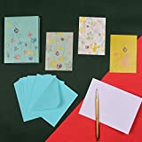 Doodle Gift of Glee Set of 12 Floral Printed Notecards - 160 GSM (Multicolor)
