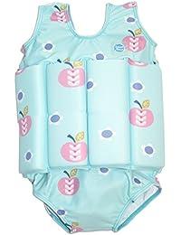 Splash About FSAD2 -  Traje de natación para niños, color azul cielo con diseno de manzanas y margaritas, 2-4 años