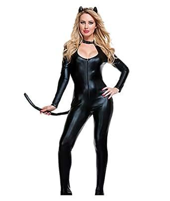 YOUJIA Donna Catwoman Costumi di Carnevale Catsuit con coda a Maniche Lunghe Tuta con zip Costume Cosplay Travestimenti Halloween Vestito Nero