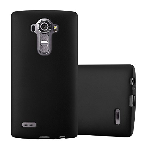 Cadorabo Hülle für LG G4 - Hülle in METALLIC SCHWARZ – Handyhülle aus TPU Silikon im Matt Metallic Design - Silikonhülle Schutzhülle Ultra Slim Soft Back Cover Case Bumper