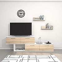 THETA DESIGN by Homemania Porta TV, Mobile TV Antipodi, Bianco/Sonoma