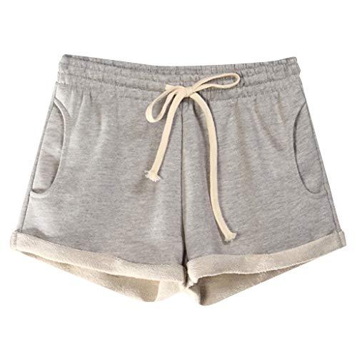 iYmitz Damen Sport Hosen lässig Solide Taschen Elastische Taille Lose Pyjama Einfarbig Shorts Gym Für Frauen(Hellgrau,S) - Womens Cuffed Denim Bermuda Shorts