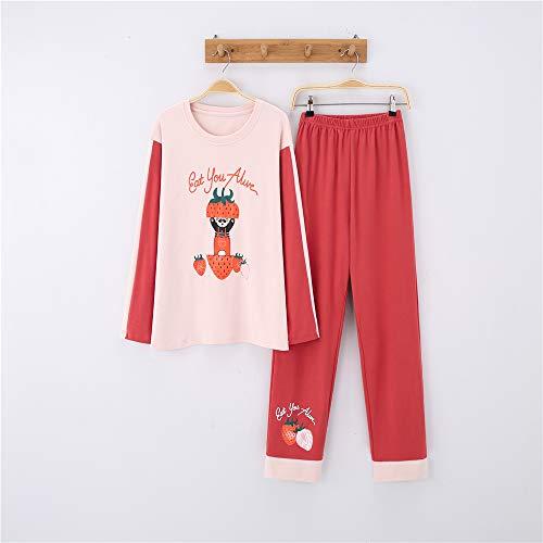 Damen Pyjamas Set Langarm Nachtwäsche mit Knopfleiste Zweiteiliger Nachtwäsche Set Sleepwear,Baumwolle Langarm Cartoon niedlichen Anzug Home Service A-4 M