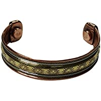 Mogul Interior Powerful Sun Magnetic Copper Cuff Bracelet 3 Metal Healing Grounding Bangle