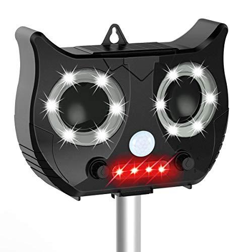 wishing Katzenschreck Ultraschall Solar, Wasserdichte Ultraschall Tiervertreiber mit Batteriebetrieben und Blitz 5 Modus Einstellbar Ultraschall Abwehr Tierabwehr für Katzen Hunde Schädlinge Rotwild