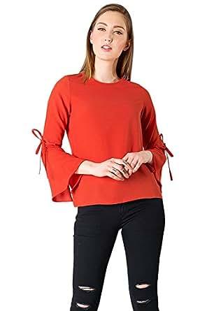 J B Fashion Women's Plain Regular Fit Top (Women TOP-RED-S_Red_Small)