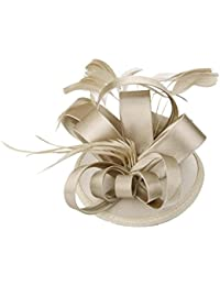 niceEshop(TM) Elegant Women Feather Satin Cocktail Sinamay Fascinator Party Hair Clip Bridal Headwear,Champagne