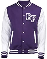 KIDS FRONT INITIAL STEP PERSONALISATION VARSITY JACKET (Purple / White) - By 123t