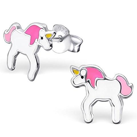 JAYARE® Boucles d'oreilles Enfants licornes chevaux 8 x 10 mm Argent 925/1000 blanc rose pink avec étui clou d'oreilles fille