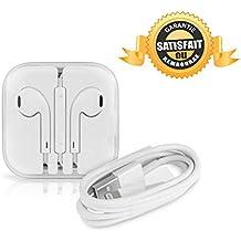 Pack Earpods Para iPhone / iPod / iPad - Auriculares In-Ear de Botón con Micrófono, Reducción de Ruido, Control Remoto Integrado, Conector de Audio de 3,5 mm + Cable de Lightning a USB de 0,9 m