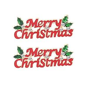 Amosfun 2 Stück Weihnachten Broschen Frohe Weihnachten Exquisite Kragen Corsage Boutonnieres Emaille Pins für Hemd Hose Pullover
