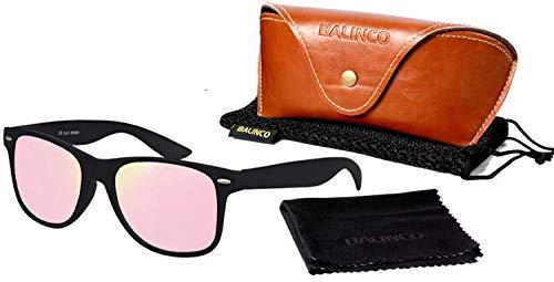 Balinco Hochwertige Polarisierte Nerd Rubber Sonnenbrille im Set (24 Modelle) Retro Vintage Unisex Brille mit Federscharnier (Black-Rose Mirror)