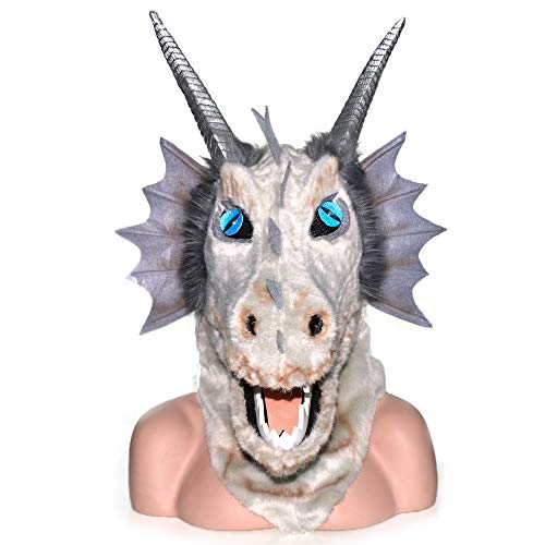 SENYIFA-Masken Aktivität Halloween Karneval Tier Cosplay Party Grau Drachenkopf Beweglicher Mund Tier Maske Plüsch Maske Plüschtier Für Halloween (Color : Grey, Size : 25 * 25) (Halloween-aktivitäten Für Karneval)