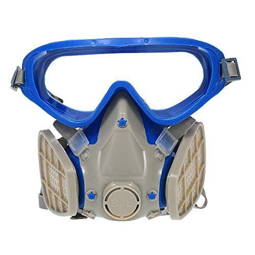Anti-Staubmaske,Baugger- Vollgesichtsmaske aus Silikon Atemschutzmaske mit Schutzbrille -
