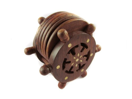 Pindia Fancy Vintage ship stering wheel shaped wooden tea coaster set