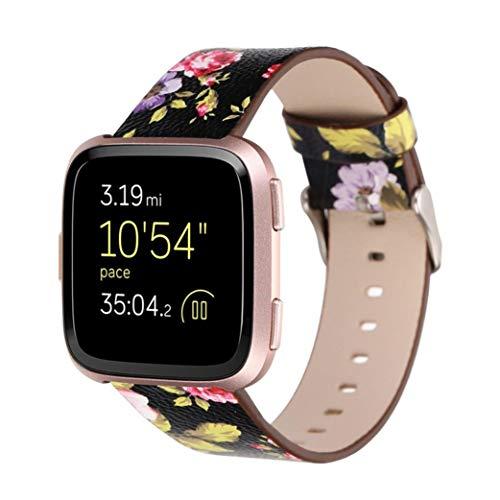 Altsommer Armband für Fitbit Versa Weiches Leder Gurt mit Metall Schließe Blume Armband Muster Serie, Bunt Leder Sportarmband Uhrenarmband die Vielfalt der Blumen für Damen (Schwarz) - Fitbit-armband Faltschließe