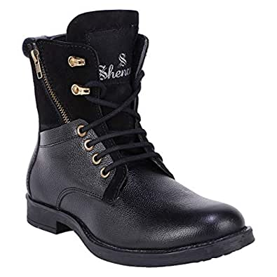 SHENCES Men's Black Genuine Leather Casual, high top Tough Boots for Men.