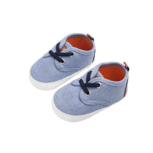 DEBAIJIA Krabbelschuhe Segeltuch Sneaker mit Rutschfester Sohle aus Silikon Kleinkind Schuhe Geeignet für 6-18 Monate Baby Junge Mädchen Klettband Slip-On-Verschluss -