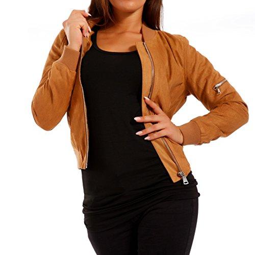 Damen Bomberjacke Jacke in Wildleder-Optik, Farbe:Camel;Größe:36