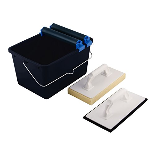 Top Deal 1801673Suki Conjunto de limpieza de baldosas 5piezas azul con doble ruedas accesorio, 1tabla de limpieza de baldosas, 1plástico Fratás con Celular schuk, 1cubo (12L), color negro