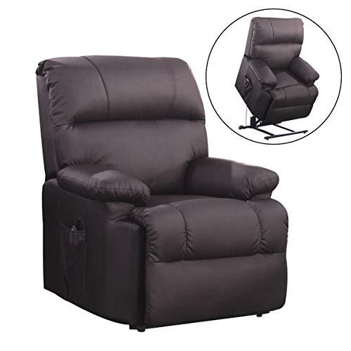 SVITA Massagesessel mit Wärmefunktion und elektrischer Aufstehhilfe - Fernsehsessel Relaxsessel Massagestuhl TV-Sessel - Kunstleder Farbwahl (braun)