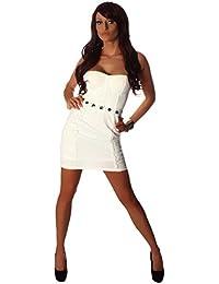 5519 Fashion4Young Damen Trägerloses Minikleid dress kleid verfügbar in 3 Größen 2 Farben