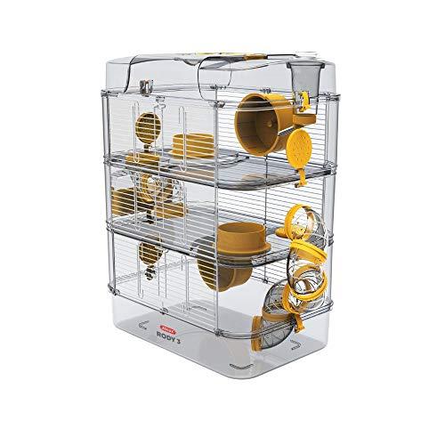 Gabbia Habitat per Criceto MOD. RODY 3 Trio Colore Banana Completa di Accessori Mis. 40x26x53h con Tubi e Giochi
