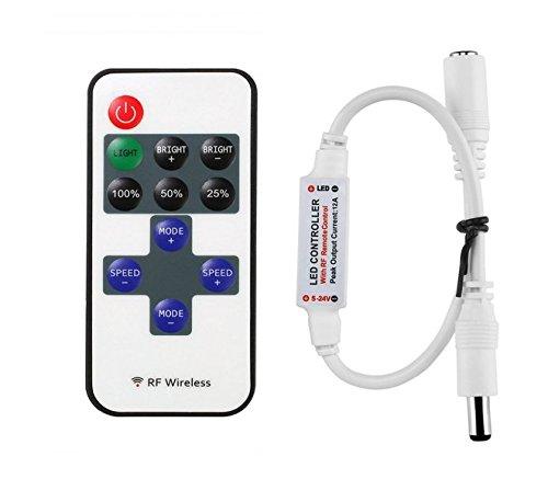 Mini rf mando a distancia para tiras de LED monocromas, RF Regulador Controlador inalámbricas para todos los regulable 50503528LED Banda Tira LED Luz Blanco Cálido Blanco Frío [Clase energética A +]
