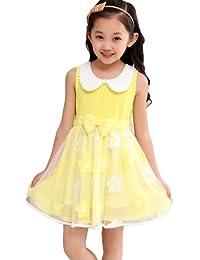 Dayiss®Süß Mädchen Kleid Kinderkleid Sommerkleid Schleife ärmellos Rundhals Bubikragen Organza bestickte Blumen Festlichkleid