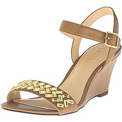 Lauren Ralph Lauren Hessa Damen US 9 Gold Keilabsätze Sandale