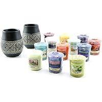 My Planet Yankee Candle - Juego de 2 portavelas de cerámica con grabado africano, incluye 12 velas variadas de muescas