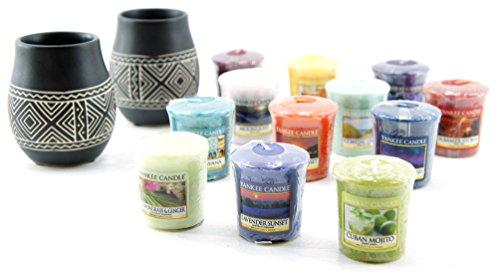 comprare on line My Planet 2x Yankee Candle ufficiale africano inciso in ceramica titolari set regalo include 12candele votive assortite prezzo