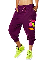 Zumba Fitness Da Funk Baggy Capris - Pantalón corto para mujer, color violeta, talla M