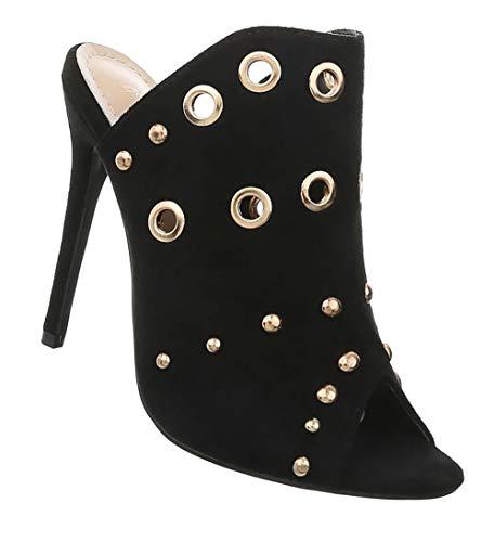 Damen Schuhe Sandaletten | High Heels Stiletto | Pumps Abendschuhe | T-Stange Tanzschuhe | sexy Partypumps bequem | Nieten Peep Toes | Schwarz 37