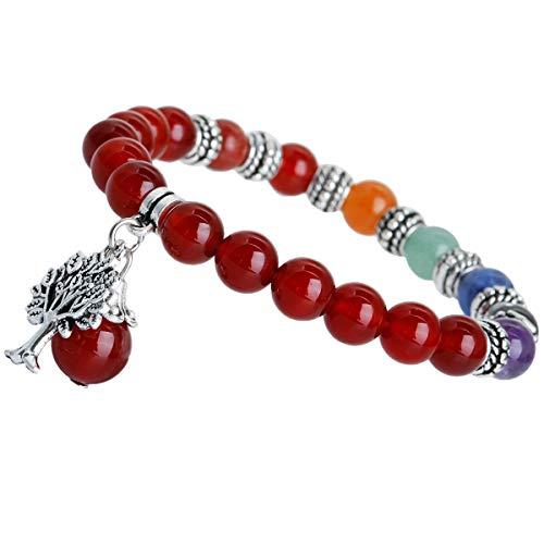mookaitedecor Baum des Lebens 7 Chakras Stein Armband Heilung Crystal Echte Edelsteine Bead Birthstone Stretch Armband für Damen Herren - Heilung Crystal Steine