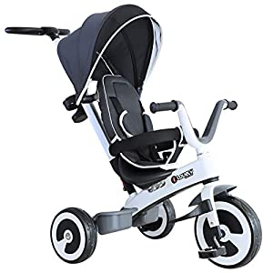 Yuldek - Baby Tricycle Children's 4-in-1 Trikes Kids Stroller W/Canopy Dark Grey - 4-in-1 Tricycle for 18 Months and Above - Tricycle with Canopy and Back Support   8