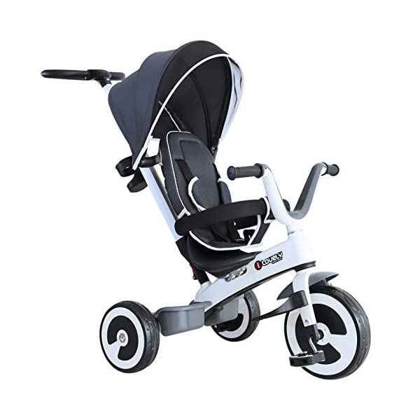 Yuldek - Baby Tricycle Children's 4-in-1 Trikes Kids Stroller W/Canopy Dark Grey - 4-in-1 Tricycle for 18 Months and Above - Tricycle with Canopy and Back Support YulDek Easy Control Brakes - The two independent brakes on the back wheels of this tricycle make it convenient for parents to control and stop the tricycle whenever they want. Storage Basket - This 4-in-1 trike for babies has a storage basket at the back to carry your kids' toys or to store essentials. Adjustable Canopy - Removable and adjustable canopy of this kids cycle offers your kids with alternative choices of protecting them from UV or enjoying the sunshine. 1